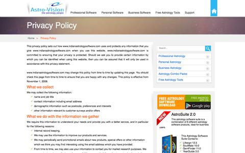 Screenshot of Privacy Page indianastrologysoftware.com - Privacy Policy - IndianAstrologySoftware.com - captured Jan. 14, 2016