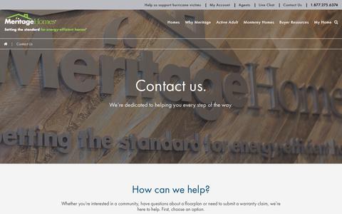 Screenshot of Contact Page meritagehomes.com captured Sept. 12, 2017