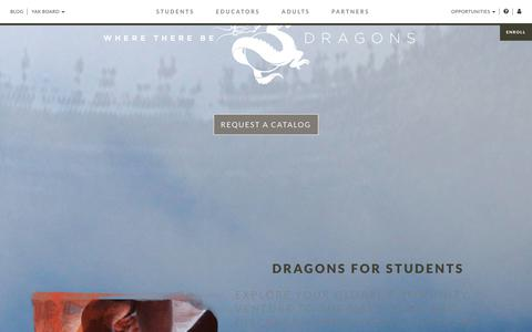 Screenshot of Home Page wheretherebedragons.com - Dragons | Travel Abroad Programs for Students, Educators, and Adults - captured Sept. 21, 2018