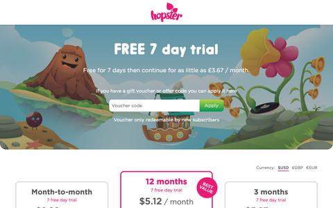 Screenshot of Trial Page hopster.tv - Get a FREE 7 day trial of Hopster, the Ad free learning app | Hopster - captured Nov. 5, 2018