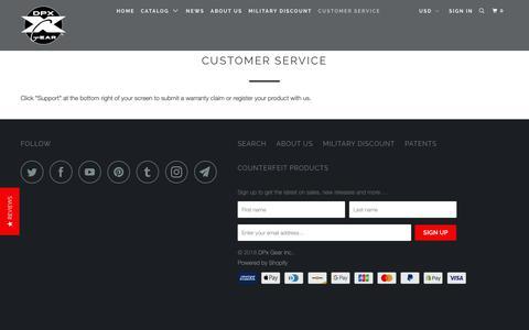 Screenshot of Support Page dpxgear.com - Customer Service - DPx Gear Inc. - captured Oct. 7, 2018