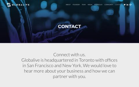 Screenshot of Contact Page globalive.com - Contact - Globalive - captured Feb. 25, 2018