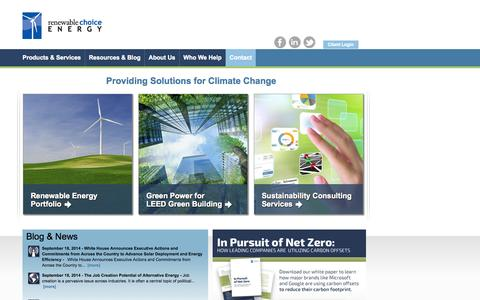 Screenshot of Home Page renewablechoice.com - Renewable Choice | Sustainability Consulting | Renewable Energy - captured Sept. 23, 2014