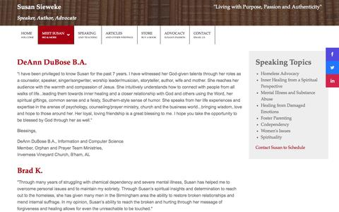 Screenshot of Testimonials Page susansieweke.com - Testimonials - captured Oct. 6, 2014