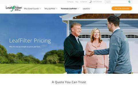 Screenshot of Pricing Page leaffilter.com - Pricing | LeafFilter - captured May 5, 2018