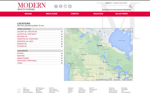 Screenshot of Contact Page Locations Page modernbeauty.ca - Modern Beauty - captured Oct. 26, 2014