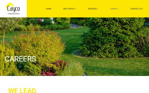 Screenshot of Jobs Page caycolandscaping.com - Career + – Cayco Landscaping - captured Sept. 27, 2018