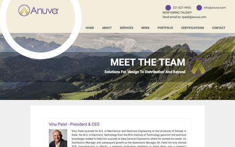 Screenshot of Team Page anuva.com - Anuva Team Members - captured Nov. 6, 2018