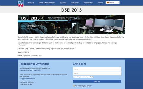 Screenshot of Home Page acmeportable.de - DSEI 2015 - captured Aug. 5, 2015