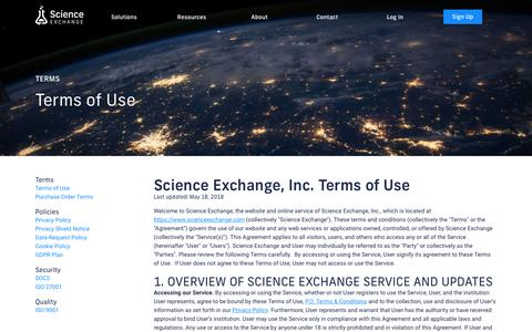 Screenshot of Terms Page scienceexchange.com - Science Exchange - Order experiments from the world's best labs - captured July 17, 2019