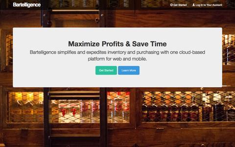 Screenshot of Home Page bartelligence.com - Bartelligence: Web & Mobile Bar Management - captured Sept. 30, 2014