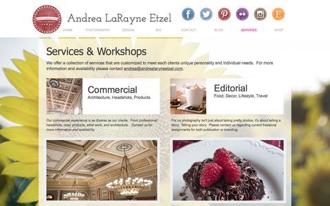 Screenshot of Services Page andrealarayneetzel.com - Services - captured Nov. 20, 2016