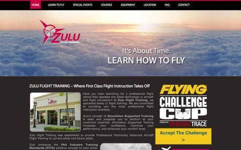 Screenshot of Home Page zuluflighttraining.com - Zulu Flight Training | Where First Class Flight Instruction Takes Off - captured Oct. 9, 2014