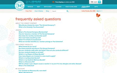 Screenshot of FAQ Page honest.com - FAQ | The Honest Company - captured Sept. 17, 2014