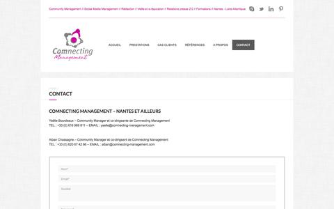 Screenshot of Contact Page comnecting-management.com - Contact Comnecting Management - Agence Community Management à Nantes - captured Sept. 30, 2014