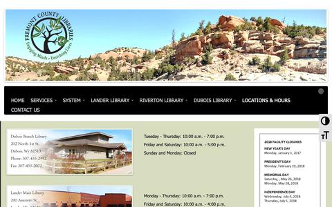 Screenshot of Locations Page fclsonline.org - Fremont County Library System | Locations - captured Oct. 11, 2018