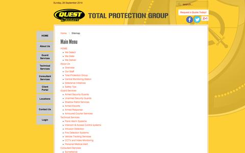 Screenshot of Site Map Page questsecurityservices.com - Main Sitemap - captured Sept. 30, 2014