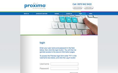 Screenshot of Login Page proximo.co.uk - login     Proximo - captured Sept. 30, 2014