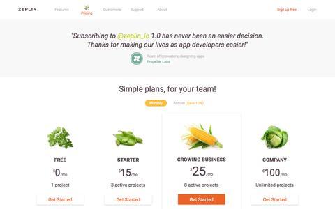 Screenshot of Pricing Page zeplin.io - Zeplin - captured Nov. 17, 2015