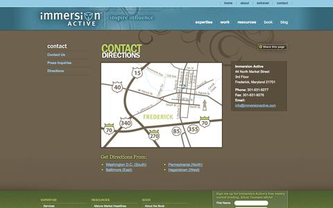 Screenshot of Maps & Directions Page immersionactive.com - Directions - 50-Plus Internet Marketing: Directions to our Washington DC Metro Area Studio – Immersion Active - captured Sept. 23, 2014