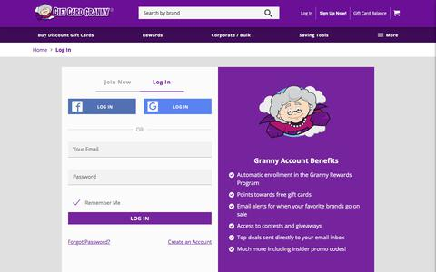 Screenshot of Login Page giftcardgranny.com - Gift Card Granny Log In - captured Sept. 22, 2018
