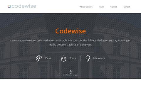 Screenshot of Home Page codewise.com - Codewise - We build tools for affiliate marketers. - captured July 11, 2014