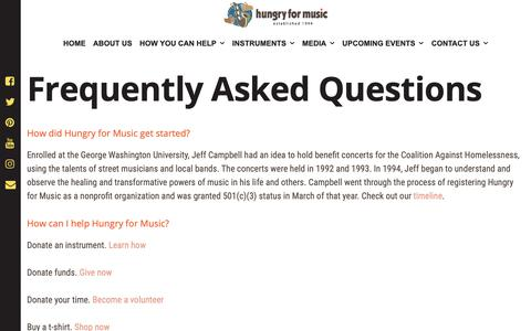 Screenshot of FAQ Page hungryformusic.org - Frequently Asked Questions | Hungry for Music - captured Nov. 28, 2018
