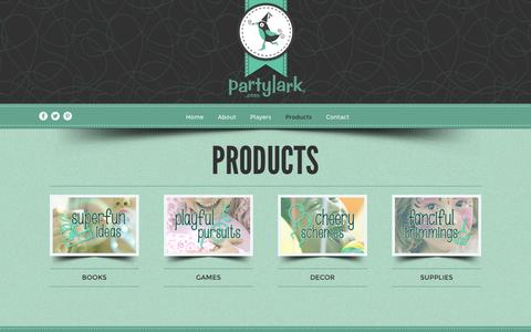 Screenshot of Products Page partylark.com - � Products - captured Dec. 7, 2015