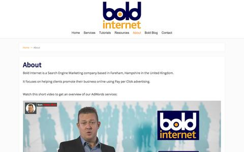 Screenshot of About Page boldinternet.co.uk - About Bold Internet - SEM Company in Hampshire, UK - captured Sept. 25, 2016