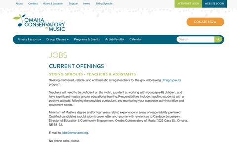 Screenshot of Jobs Page omahacm.org - Jobs | Omaha Conservatory of Music - captured April 25, 2017