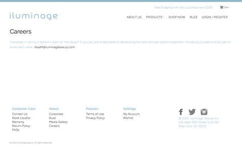 Screenshot of Jobs Page iluminagebeauty.com - Careers | iluminage Anti-aging & IPL Hair Removal Systems - captured Feb. 11, 2016