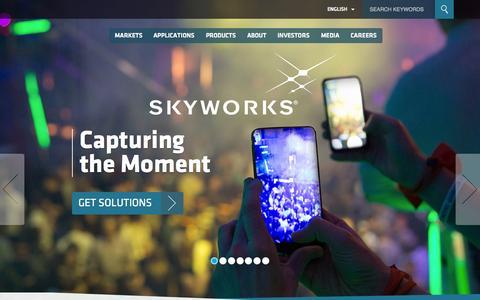 Screenshot of Home Page skyworksinc.com - SKYWORKS - captured Oct. 7, 2015