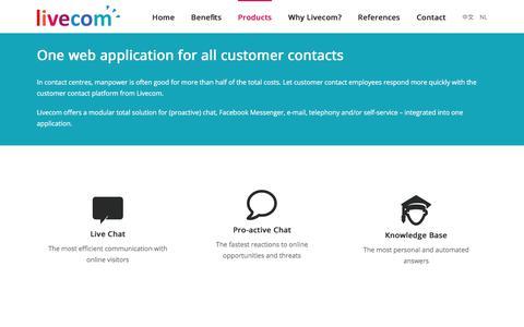 Screenshot of Products Page livecom.com - Products - Livecom - captured Jan. 2, 2018