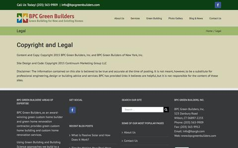 Screenshot of Terms Page bpcgreenbuilders.com - Legal - BPC Green Builders - captured Aug. 1, 2018