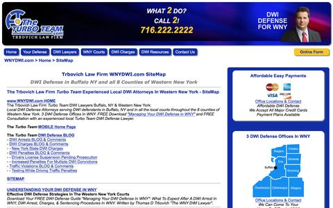 Screenshot of Site Map Page wnydwi.com - The Trbovich Law Firm Turbo Team Experienced Local DWI Attorneys, Buffalo, NY & Western New York - SiteMap - captured Dec. 1, 2016