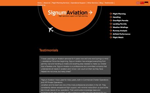 Screenshot of Testimonials Page signumaviation.co.uk - Testimonials - captured Jan. 10, 2016