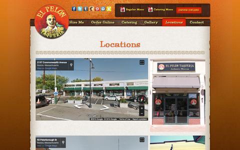 Screenshot of Locations Page elpelon.com - Locations - El Pelon - captured Nov. 2, 2016