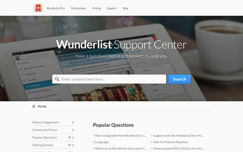 Screenshot of Support Page wunderlist.com - Wunderlist |        Portal - captured Dec. 16, 2014