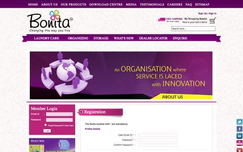 Screenshot of Signup Page bonitaindia.com - Registration - captured Oct. 10, 2014