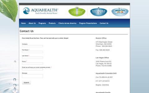 Screenshot of Contact Page aquahealth.com - Contact Us - AquaHealth - captured Oct. 4, 2018