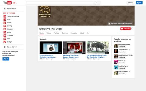 Screenshot of YouTube Page youtube.com - Exclusive Thai Decor  - YouTube - captured Oct. 22, 2014