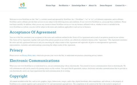 Screenshot of Terms Page nextglare.com - Terms of Use   - captured Nov. 30, 2016