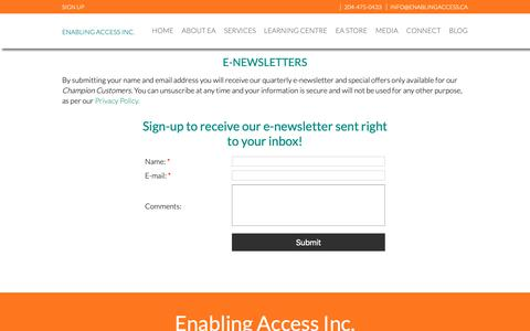 Screenshot of Signup Page enablingaccess.ca - Enabling Access Inc. : Newsletters - captured Nov. 5, 2018