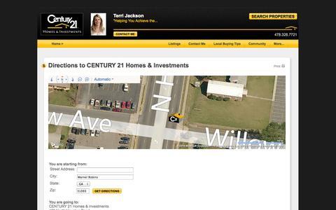 Screenshot of Maps & Directions Page century21.com - Warner Robins, GA Real Estate Agent | Terri Jackson | CENTURY 21 - captured Sept. 18, 2014