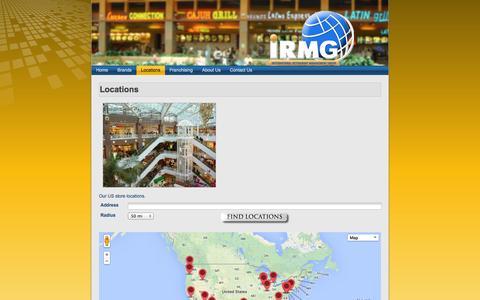 Screenshot of Locations Page irmgusa.com - International Restaurant Management Group: Locations - captured Oct. 6, 2014