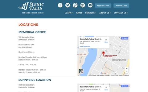 Screenshot of Locations Page Hours Page scenicfalls.org - Locations | Scenic Falls Federal Credit Union - captured Nov. 19, 2016