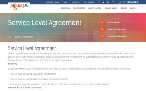 Screenshot of jaguarpc.com - Service Legal Agreement - Jaguarpc - captured Dec. 9, 2016