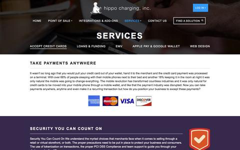 Screenshot of Services Page hippocharging.com - Accept Credit Cards - Hippo Charging - captured Jan. 30, 2016