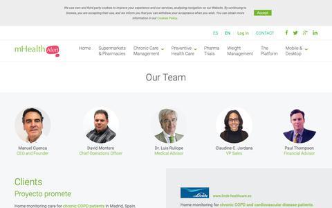 Screenshot of Team Page mhealthalert.com - mHealthAlert   Our Team - captured Dec. 11, 2018
