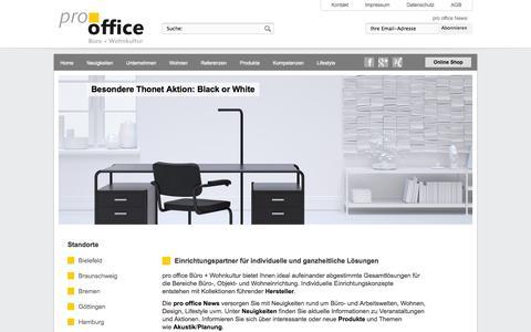 Screenshot of Home Page prooffice.de - pro office Bürokultur: Home - captured Oct. 3, 2014